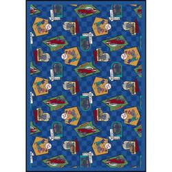 Joy Carpets Kaleidoscope Fabulous Fifties Blue Area Rug