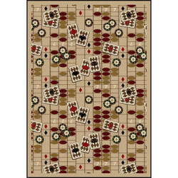 Joy Carpets Games People Play Feeling Lucky Beige Area Rug