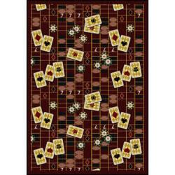 Joy Carpets Games People Play Feeling Lucky Burgundy Area Rug