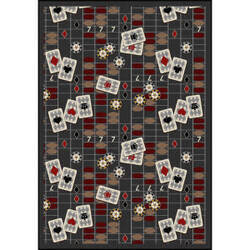 Joy Carpets Games People Play Feeling Lucky Charcoal Area Rug