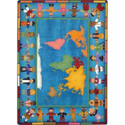 Joy Carpets Kid Essentials Hands Around The World Multi Area Rug