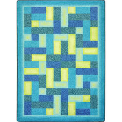 Joy Carpets Kid Essentials Off Beat Teal Area Rug