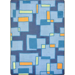 Joy Carpets Kid Essentials Outside The Box Cool Blue Area Rug