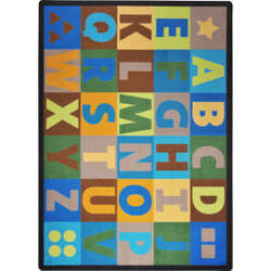 Joy Carpets Kid Essentials Oversize Alphabet Earthtone Area Rug