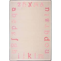 Joy Carpets Kid Essentials Polka Dot Abc's Pink Area Rug