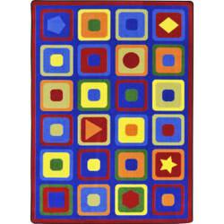 Joy Carpets Kid Essentials Seeking Shapes Multi Area Rug