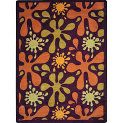 Joy Carpets Kid Essentials Splat Burgundy Area Rug