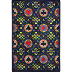 Joy Carpets Games People Play Stacked Deck Navy Area Rug