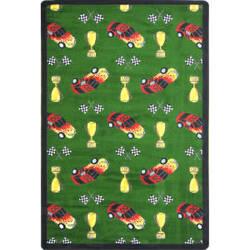 Joy Carpets Playful Patterns Start Your Engines Green Area Rug