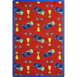 Joy Carpets Playful Patterns Start Your Engines Red Area Rug