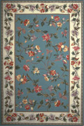 Kas Colonial Floral Slate Blue/Ivory 1728 Area Rug