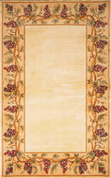 Kas Emerald With Grapes Border 9058 Ivory Area Rug
