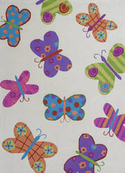 KAS Kozy Kids 554 Ivory Butterflies Area Rug