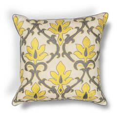 Kas Damask Pillow L196 Yellow - Grey