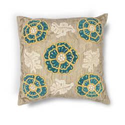 Kas Blooms Pillow L211 Taupe - Teal