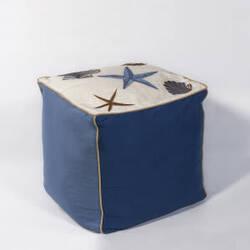 Kas Seashells Pouf F810 Ivory - Blue