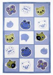 KAS Kolorful Kidz Checkerboard Friends Blue 4112 Area Rug