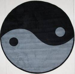 Fun Rugs Fun Time Shape Ying Yang FTS-152 Gray/Black Area Rug