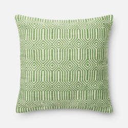 Loloi Indoor/Outdoor Pillow P0339 Green - Ivory
