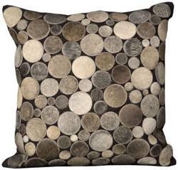 Nourison Pillows Natural Leather Hide C2300 Silver