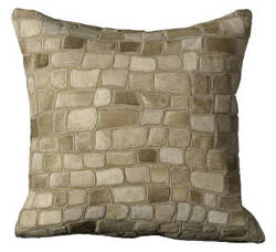 Nourison Pillows Natural Leather Hide C5500 Beige