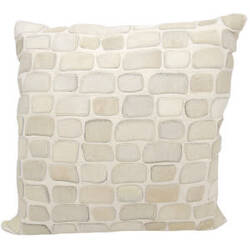 Nourison Natural Leather And Hide Pillow C5500 White