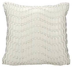 Nourison Natural Leather And Hide Pillow C5601 Ivory