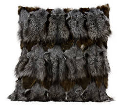 Nourison Pillows Fur F7108 Dark Grey