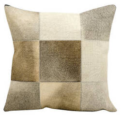 Nourison Natural Leather And Hide Pillow Jh262 Grey