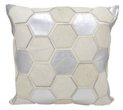 Nourison Natural Leather And Hide Pillow M916 White Silver