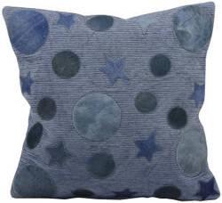 Nourison Pillows Natural Leather Hide M917 Blue