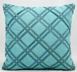 Nourison Pillows Natural Leather Hide M918 Turquoise