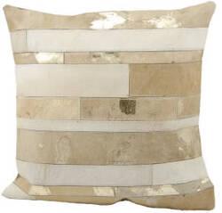 Nourison Pillows Natural Leather Hide S1160 Beige