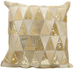 Nourison Natural Leather And Hide Pillow S1220 Beige Gold