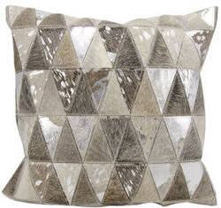Nourison Natural Leather And Hide Pillow S1220 Silver Grey