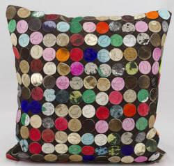Nourison Pillows Natural Leather Hide S1982 Multicolor