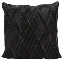 Nourison Natural Leather And Hide Pillow S5117 Black