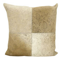 Nourison Natural Leather And Hide Pillow S6066 Beige