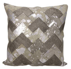 Nourison Natural Leather And Hide Pillow S6081 Grey Silver