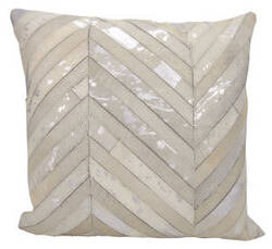 Nourison Natural Leather And Hide Pillow S6102 White Silver