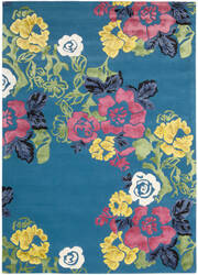 Nourison Wildflowers Wil02 Turquoise Area Rug