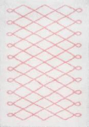 Nuloom Stasia Diamond Shag Baby Pink Area Rug