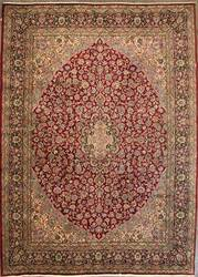 ORG Kerman Medallion Floral Red-Black Area Rug