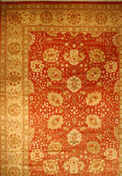 ORG Antique Reproduction Sm-150 Rust And Lemon Area Rug