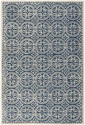 Rugstudio Sample Sale 80394R Navy Blue / Ivory Area Rug
