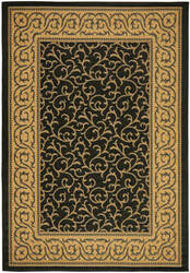 Safavieh Courtyard Cy6014-46 Black / Natural Area Rug