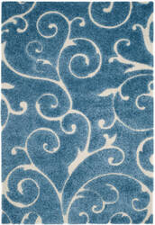 Safavieh Florida Shag Sg455 Dark Blue - Cream Area Rug