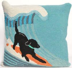Trans-Ocean Frontporch Pillow Surfing Dog 1473/04 Ocean Area Rug