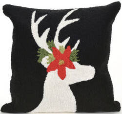 Trans-Ocean Frontporch Pillow Reindeer 1818/48 Black Area Rug