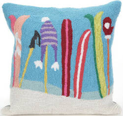 Trans-Ocean Frontporch Pillow Gone Skiing 1845/03 Blue